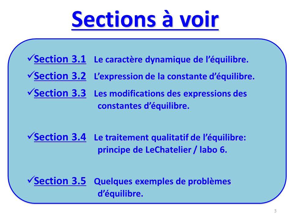 Sections à voir Section 3.1 Le caractère dynamique de l'équilibre.