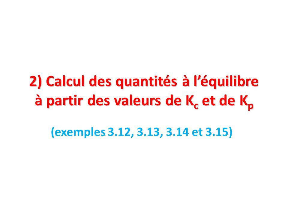 2) Calcul des quantités à l'équilibre à partir des valeurs de Kc et de Kp