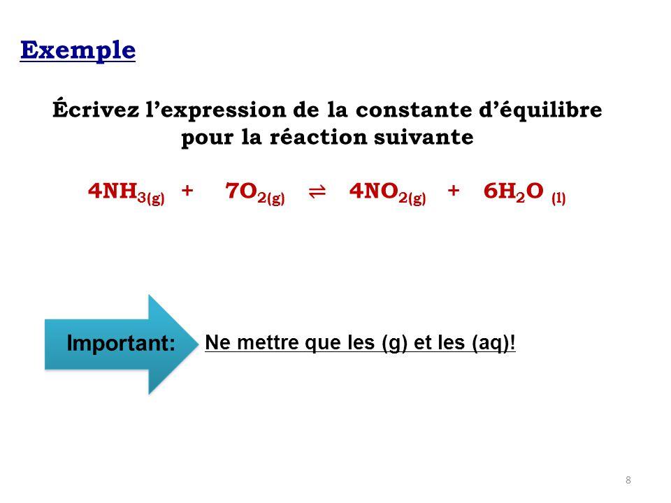 Exemple Écrivez l'expression de la constante d'équilibre