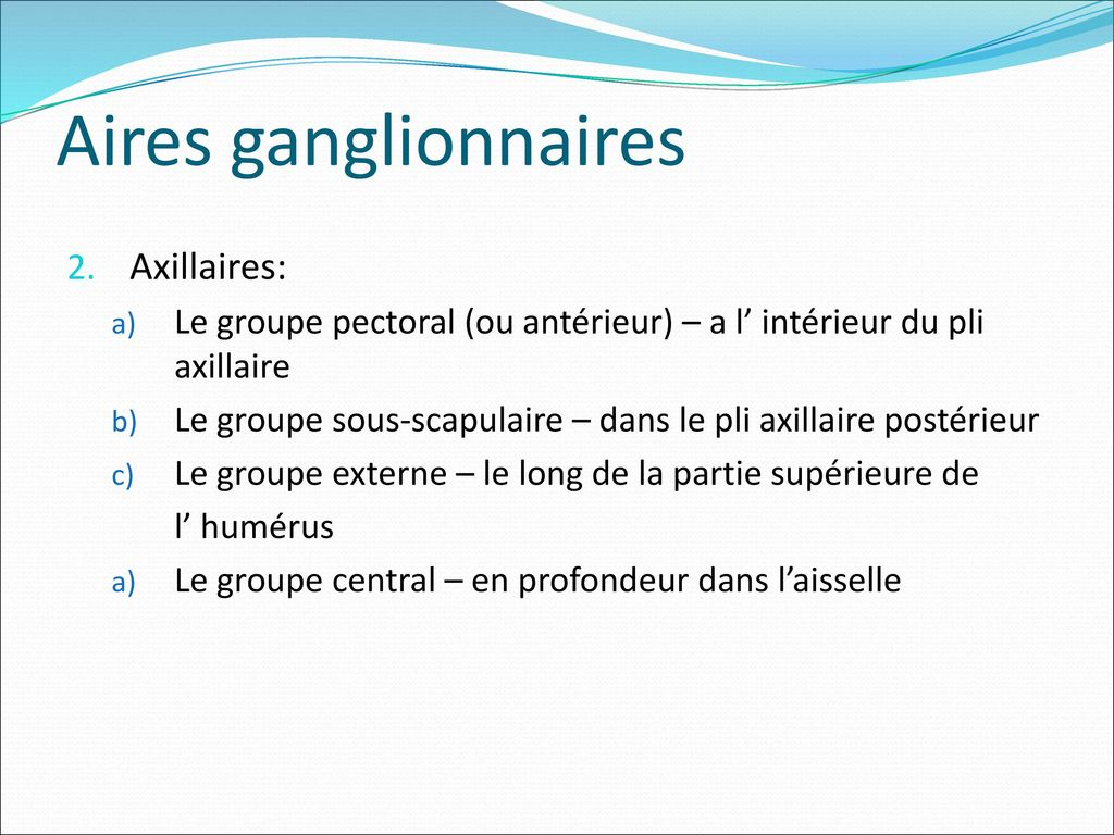Aires ganglionnaires Axillaires: