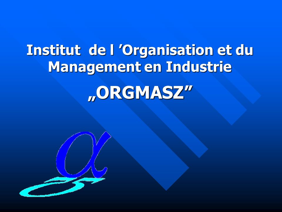 Institut de l 'Organisation et du Management en Industrie