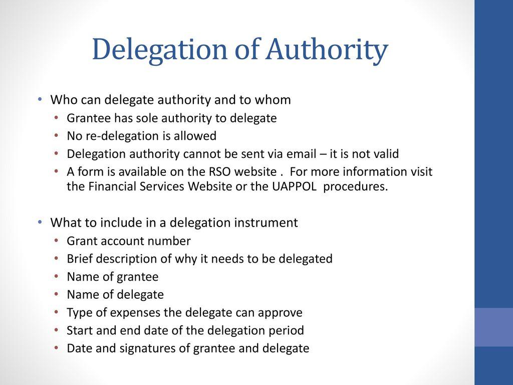 delegation authority essay