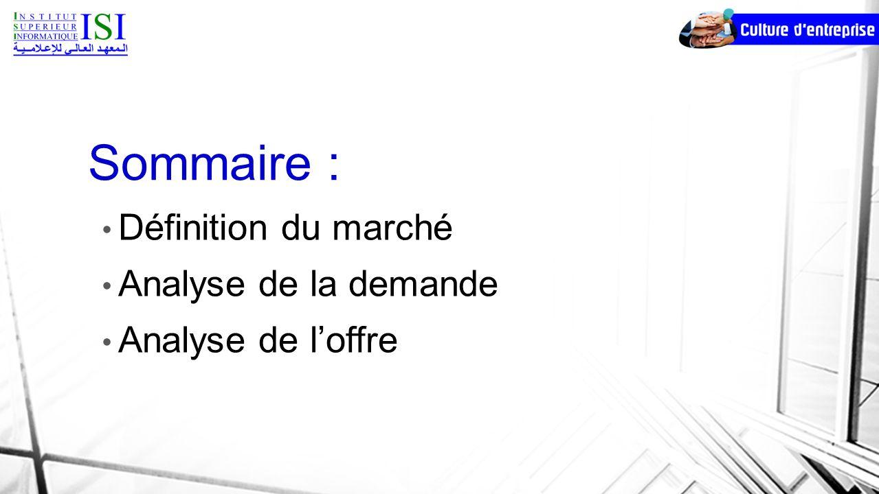 Sommaire : Définition du marché Analyse de la demande