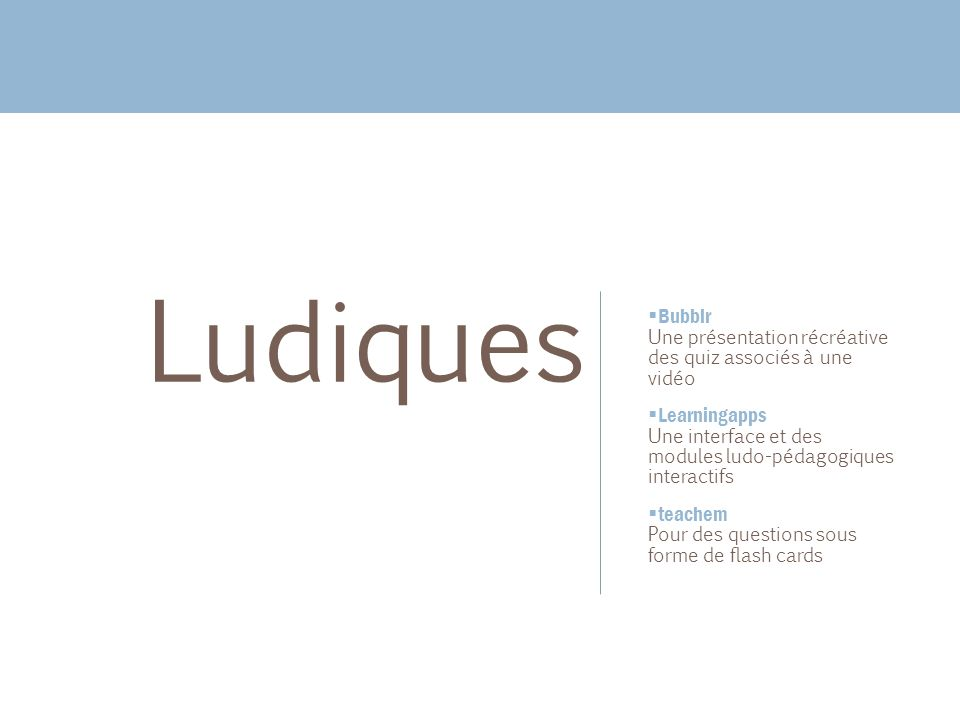 Ludiques Bubblr Learningapps teachem