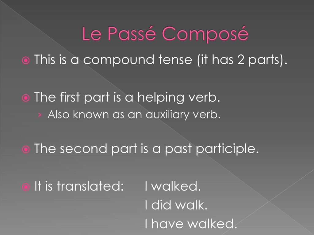 Le Passé Composé This is a compound tense (it has 2 parts).