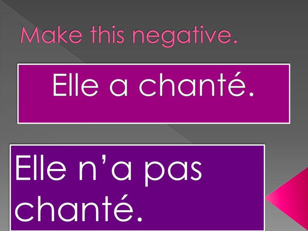 Make this negative. Elle a chanté. Elle n'a pas chanté.