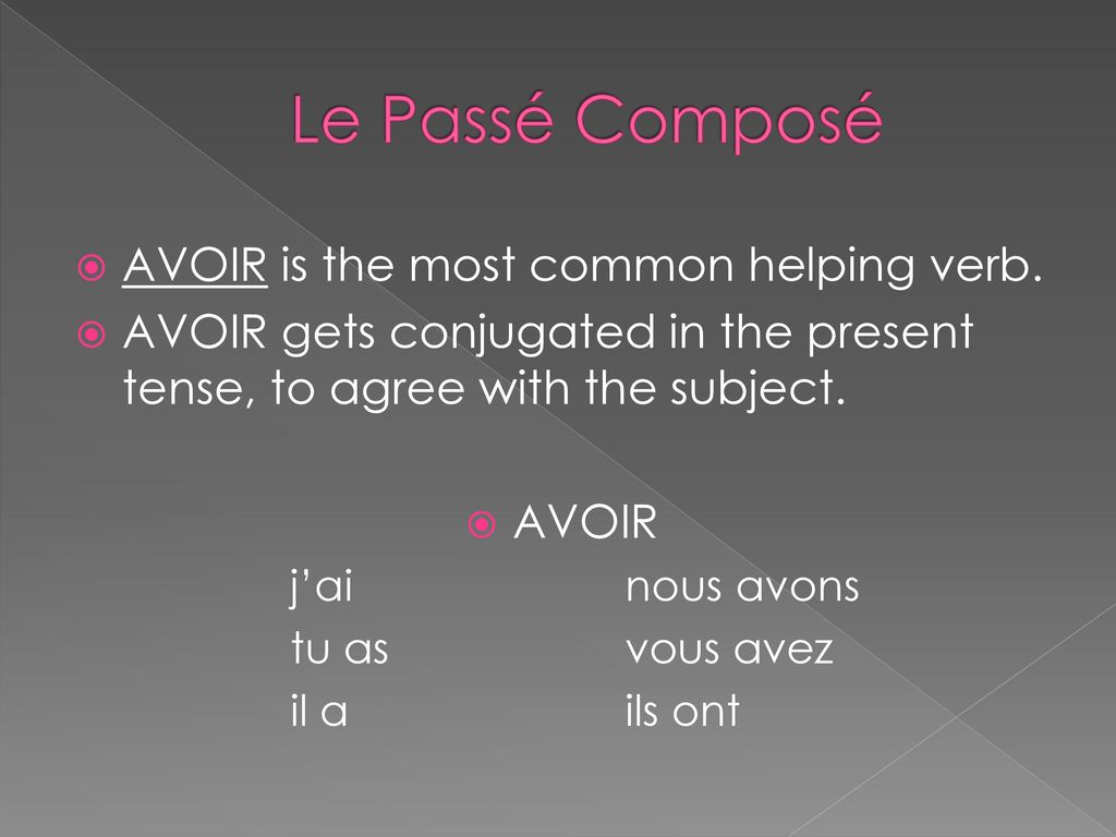 Le Passé Composé AVOIR is the most common helping verb.
