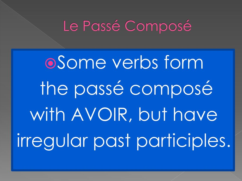 irregular past participles.
