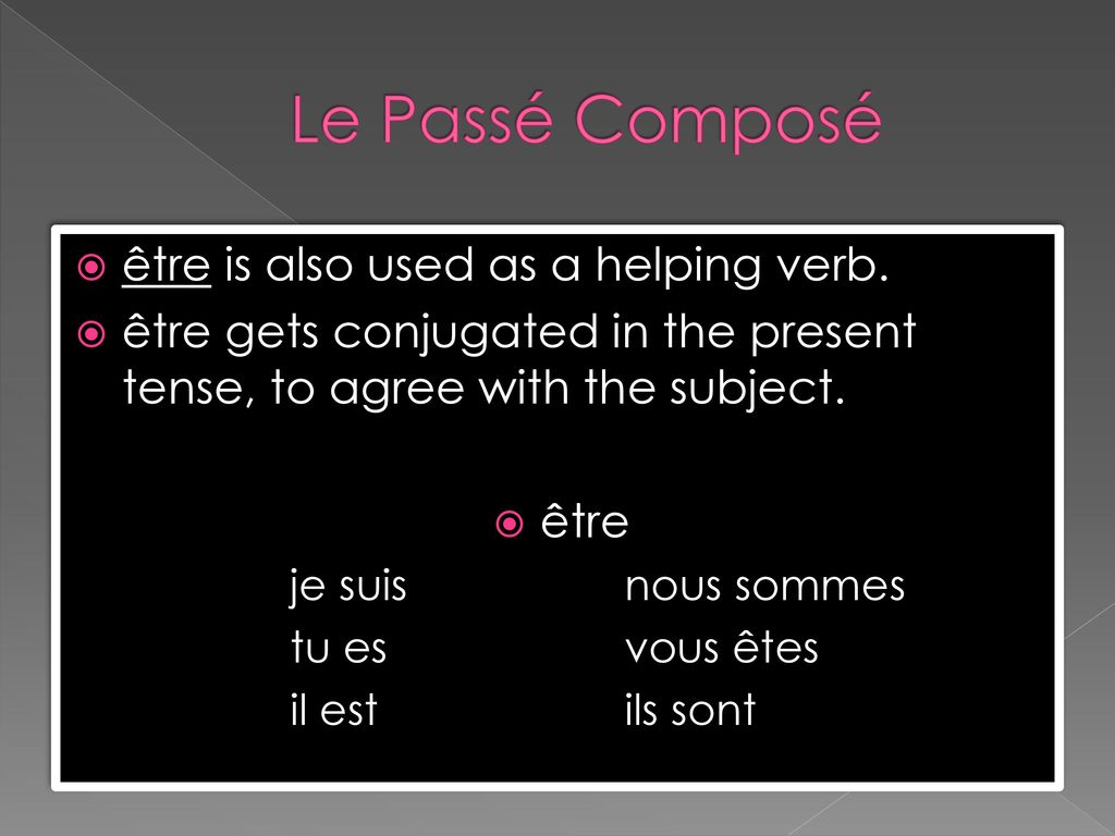 Le Passé Composé être is also used as a helping verb.