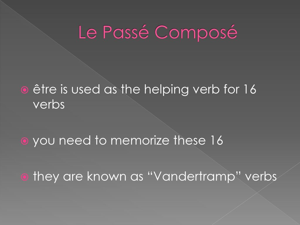 Le Passé Composé être is used as the helping verb for 16 verbs