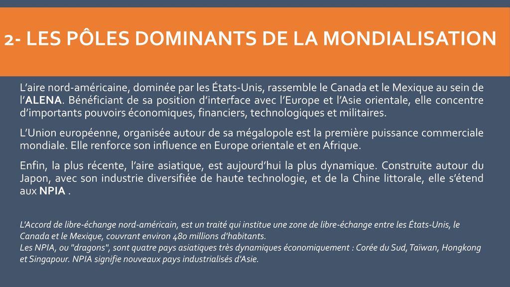 2- Les pôles dominants de la mondialisation