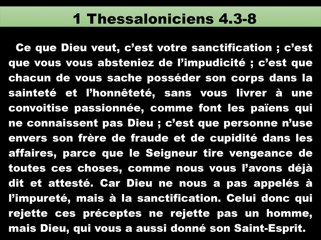 1 Thessaloniciens 4.3-8