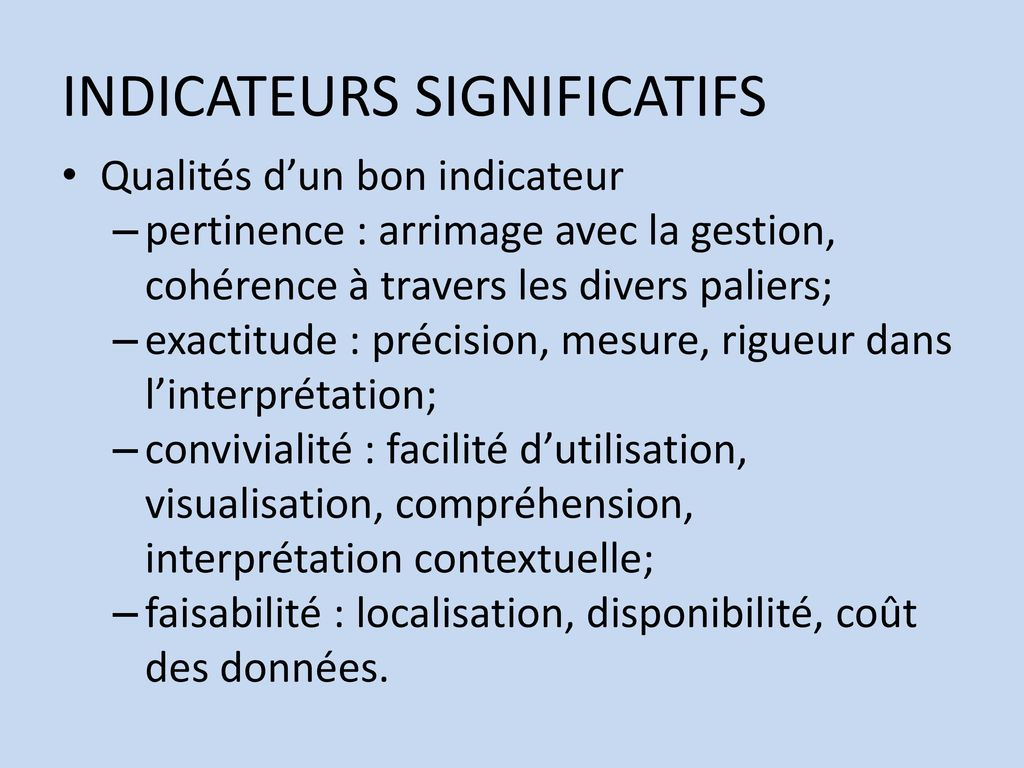 INDICATEURS SIGNIFICATIFS