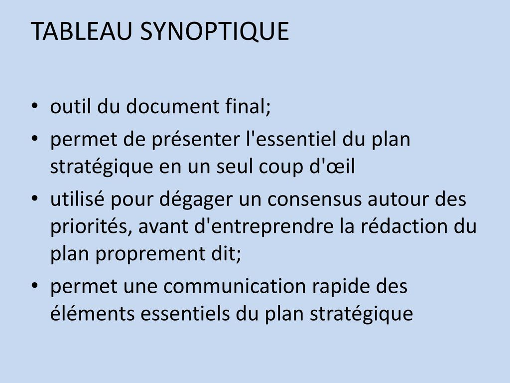 TABLEAU SYNOPTIQUE outil du document final;