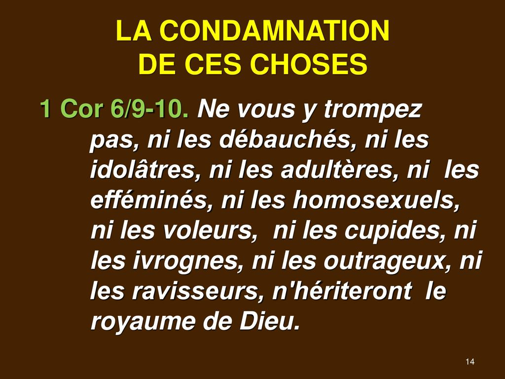 LA CONDAMNATION DE CES CHOSES