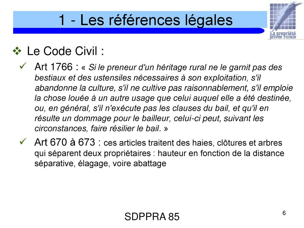 La propri t priv e rurale ppt t l charger - Cloture entre voisin code civil ...