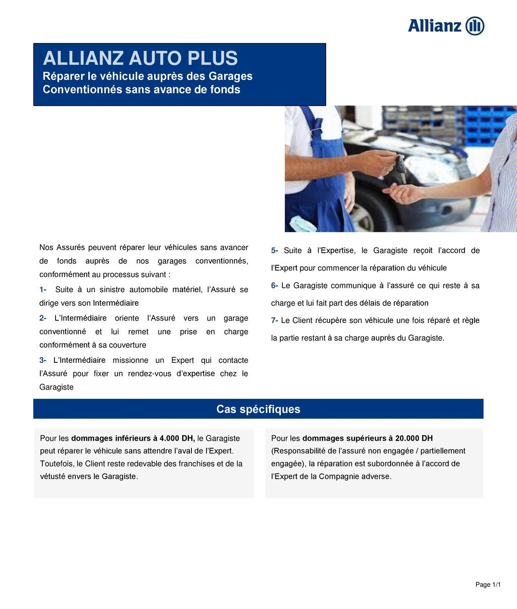 Allianz auto plus r parer le v hicule aupr s des garages for Garage automobile qui fait credit