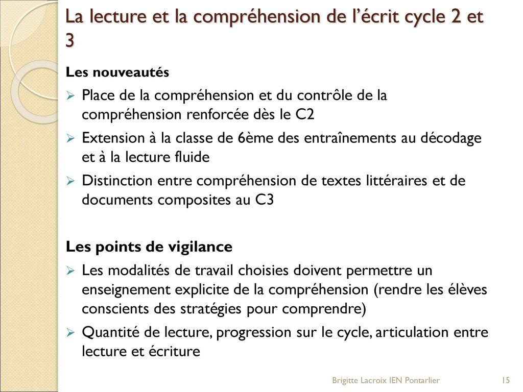 Les nouveaux programmes de l cole l mentaire cycle 3 - La chambre des officiers controle de lecture ...