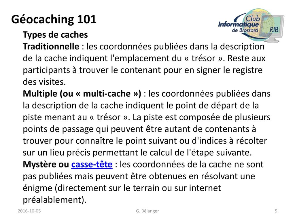 Géocaching 101 Types de caches