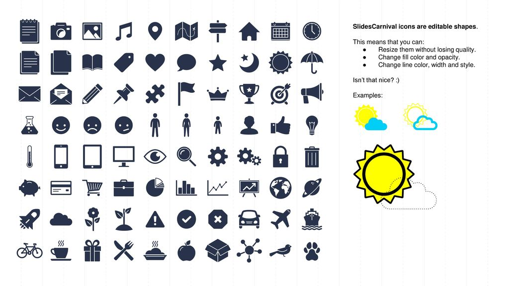 SlidesCarnival icons are editable shapes.