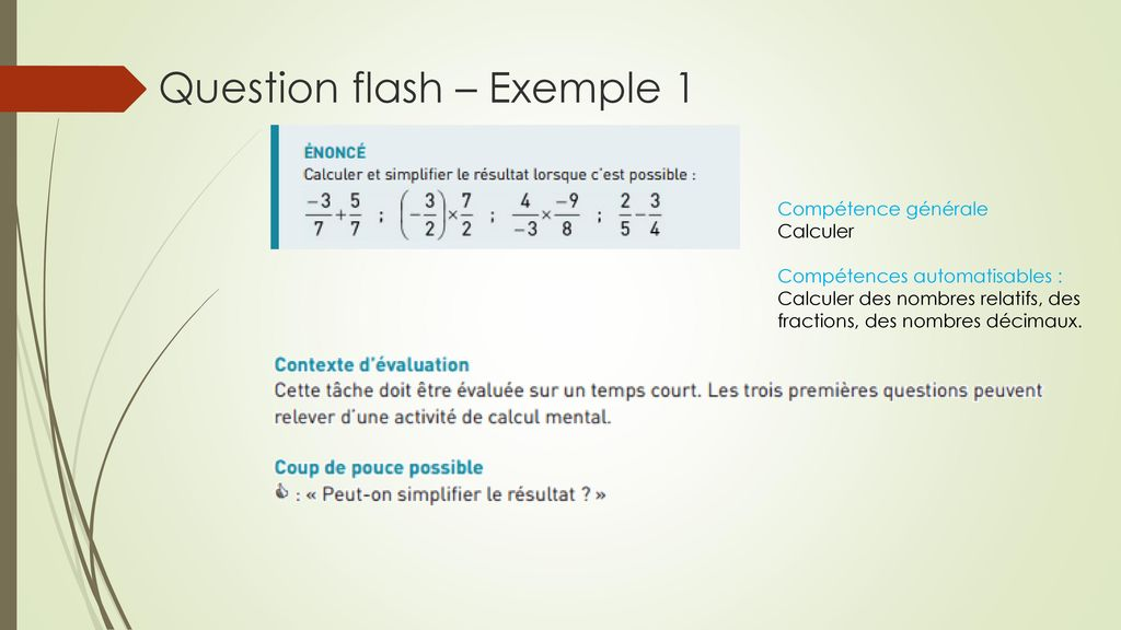 Question flash – Exemple 1