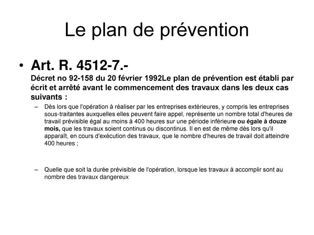 Etablir un plan de pr vention un protocole de for Plan de prevention des risques entreprises exterieures