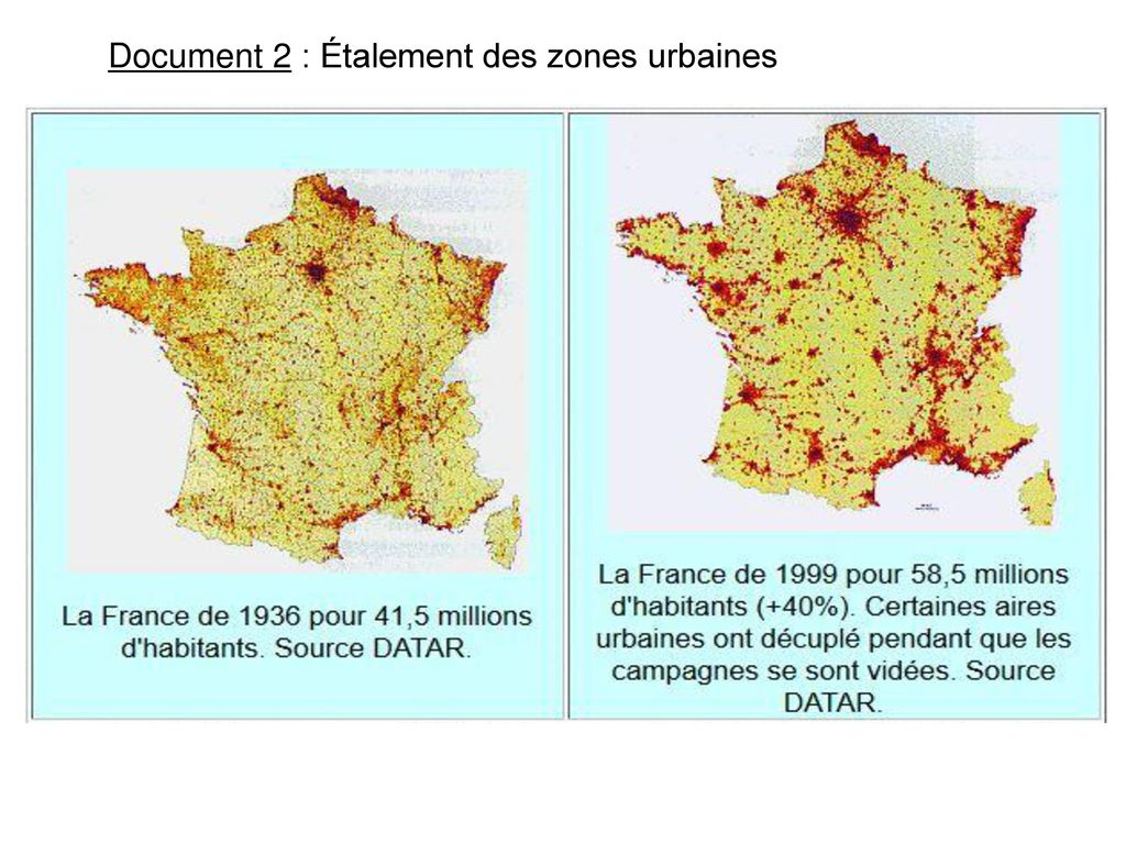 Document 2 : Étalement des zones urbaines