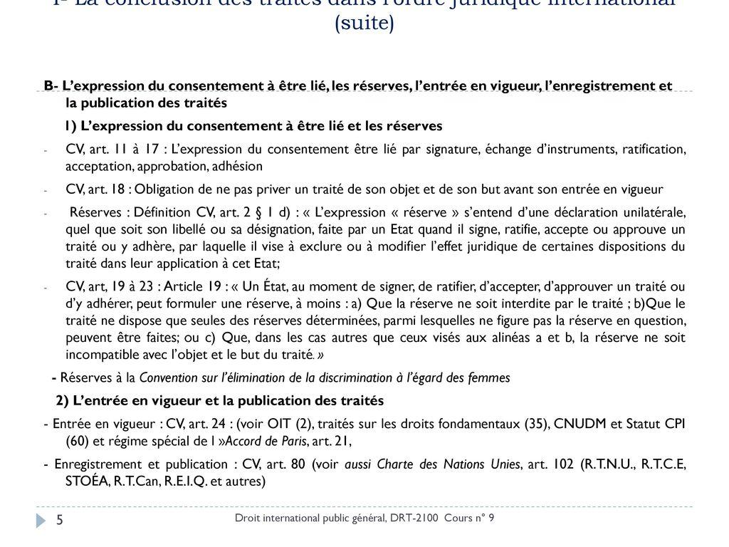 cours n u00b0 9  9 mars 2017  les trait u00e9s et leur conclusion