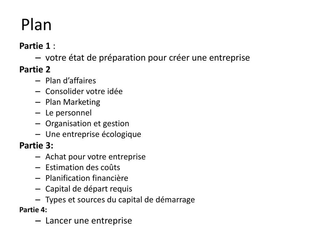 plan d affaire d une entreprise pdf
