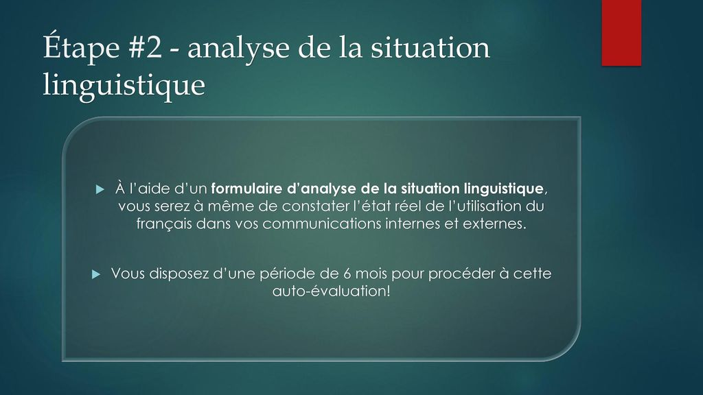 Étape #2 - analyse de la situation linguistique