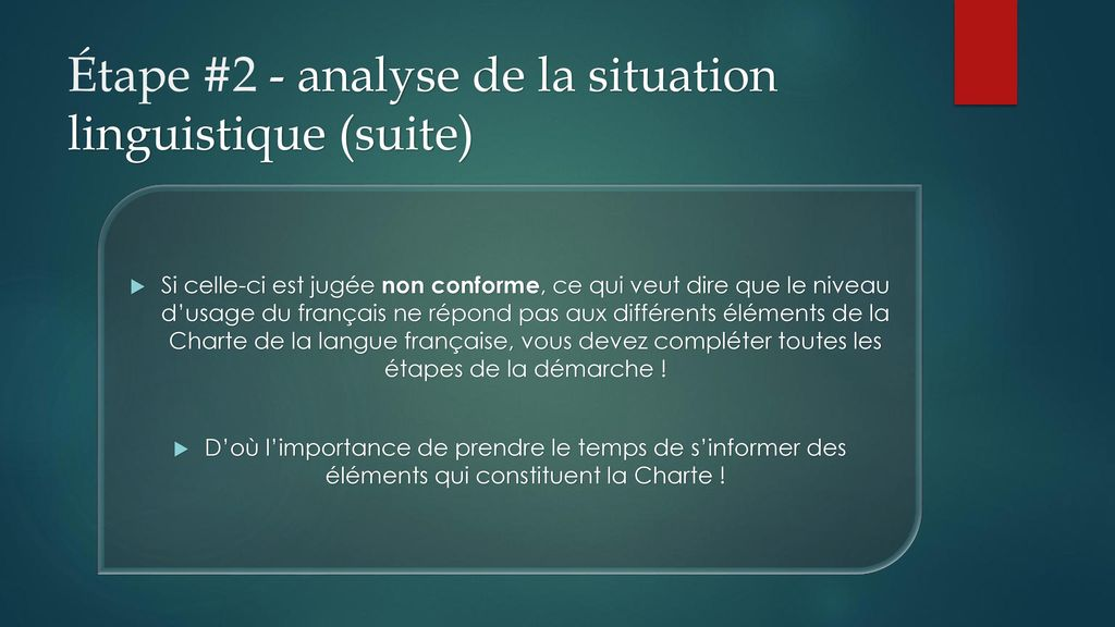 Étape #2 - analyse de la situation linguistique (suite)