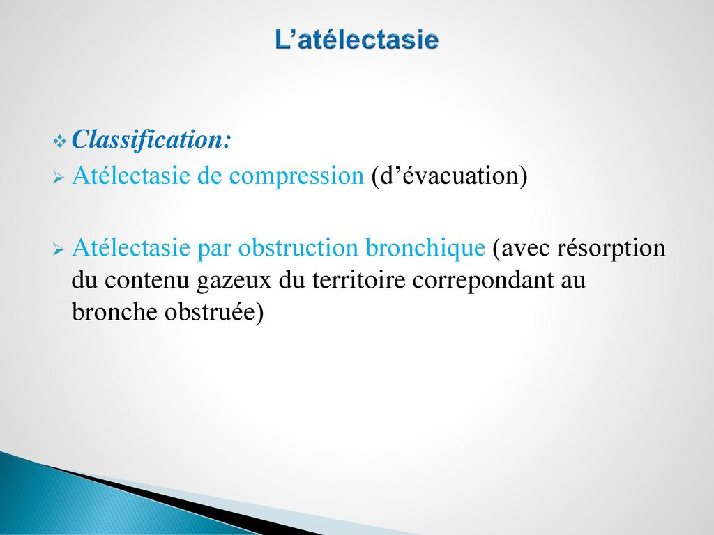 L'atélectasie Classification: