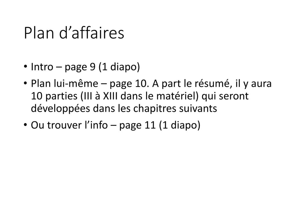 Plan d'affaires Intro – page 9 (1 diapo)