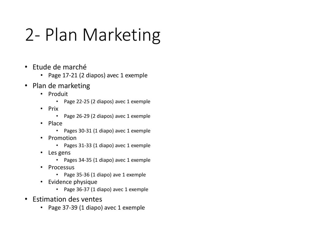 2- Plan Marketing Etude de marché Plan de marketing
