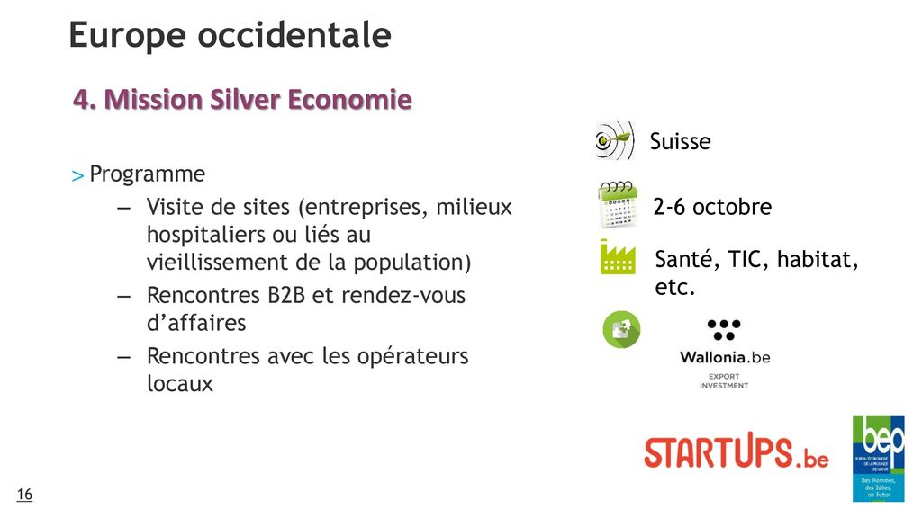 Europe occidentale 4. Mission Silver Economie Suisse Programme