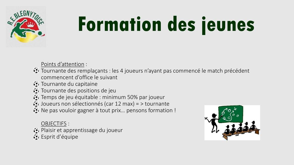 Formation des jeunes Points d'attention :