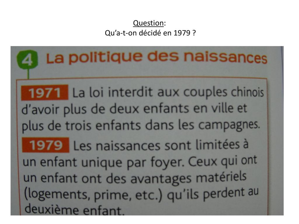 Question: Qu'a-t-on décidé en 1979