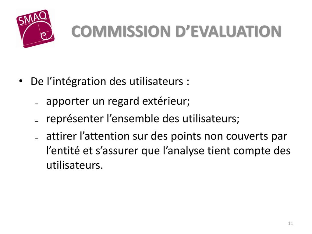 COMMISSION D'EVALUATION