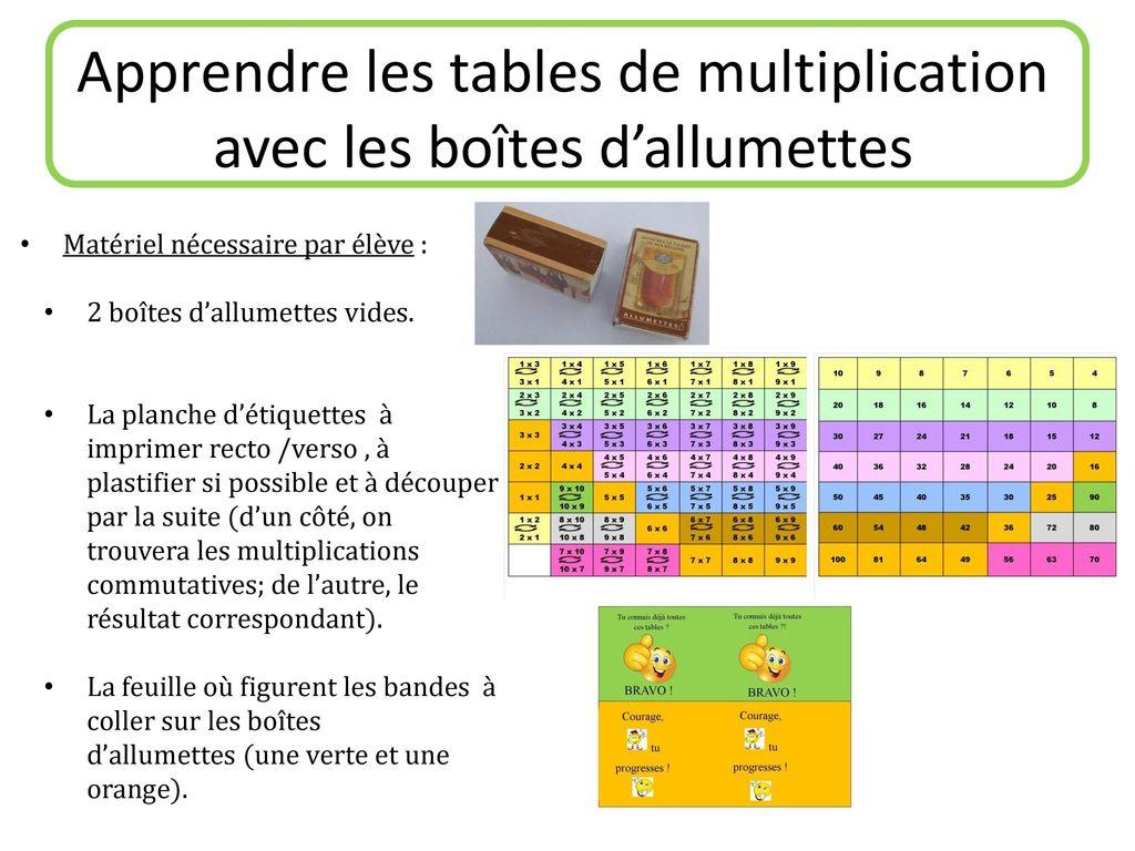 apprendre les tables de multiplication avec les bo tes d