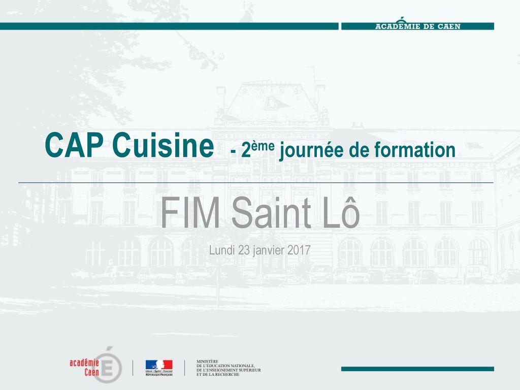 CAP Cuisine ème Journée De Formation Ppt Télécharger - Sujet cap cuisine