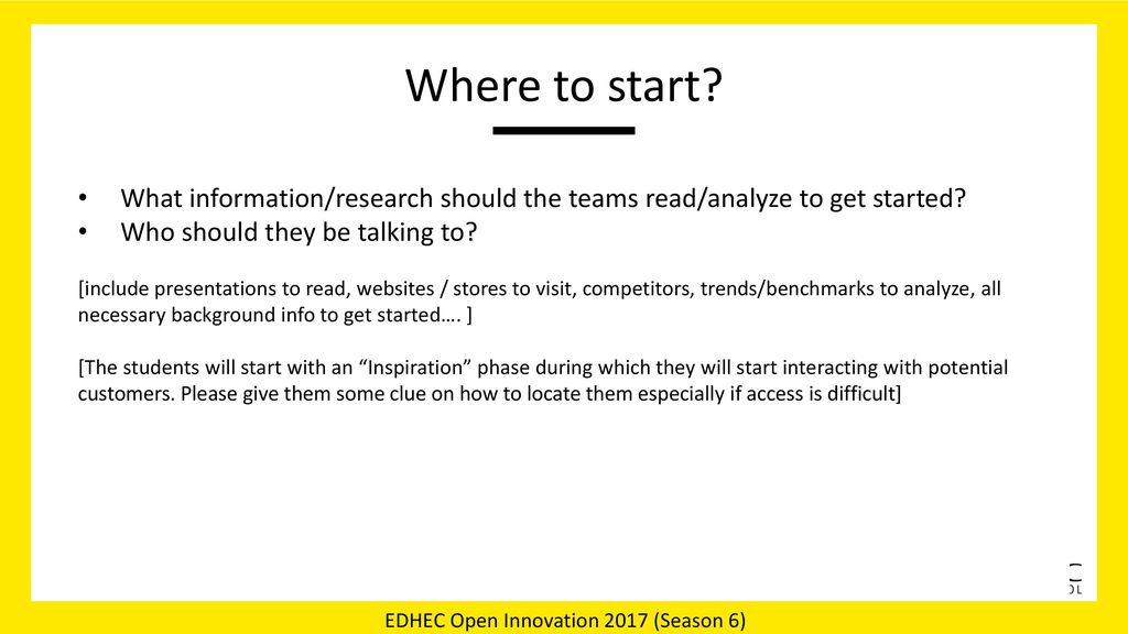 Where to start What information/research should the teams read/analyze to get started Who should they be talking to