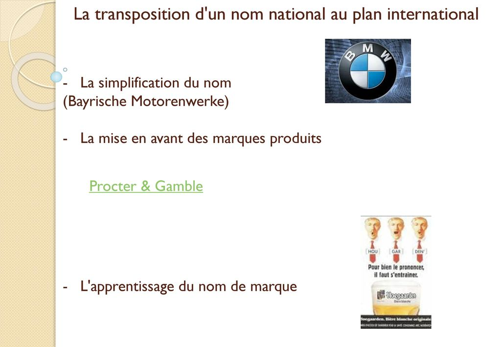 La transposition d un nom national au plan international
