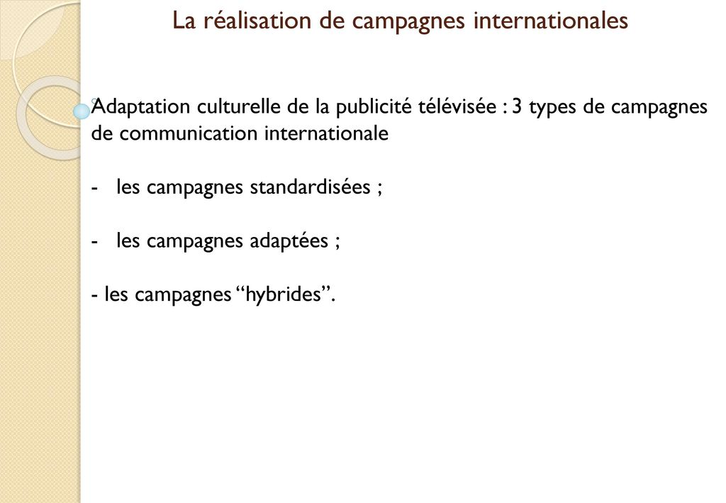 La réalisation de campagnes internationales