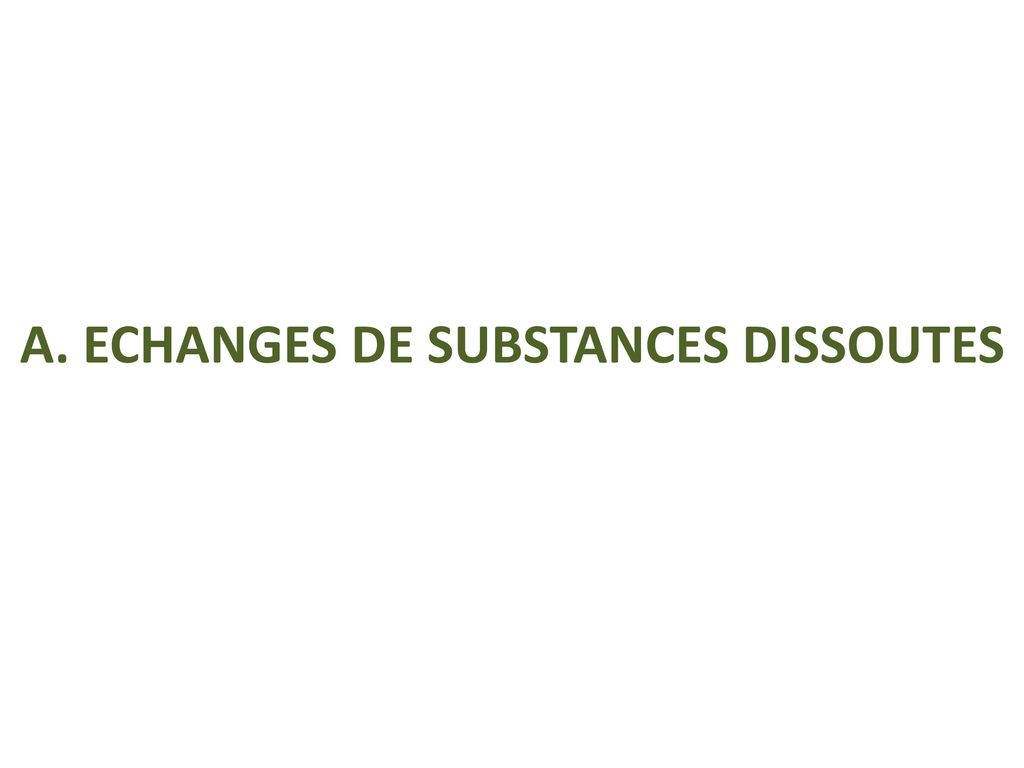 A. ECHANGES DE SUBSTANCES DISSOUTES