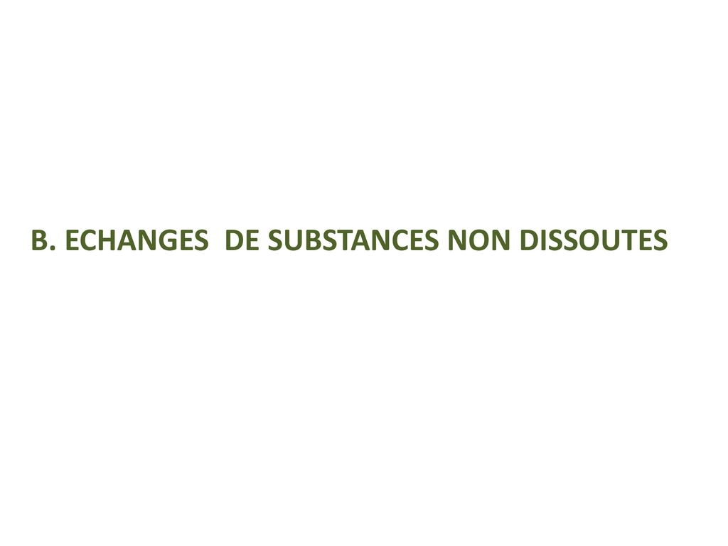 B. ECHANGES DE SUBSTANCES NON DISSOUTES