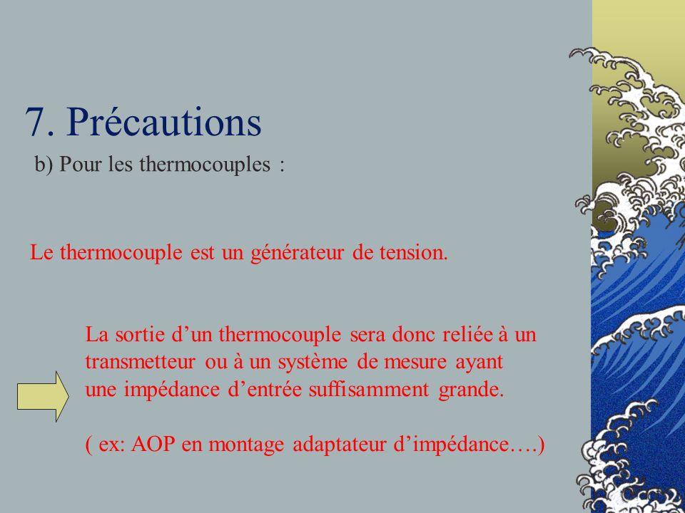 7. Précautions b) Pour les thermocouples :