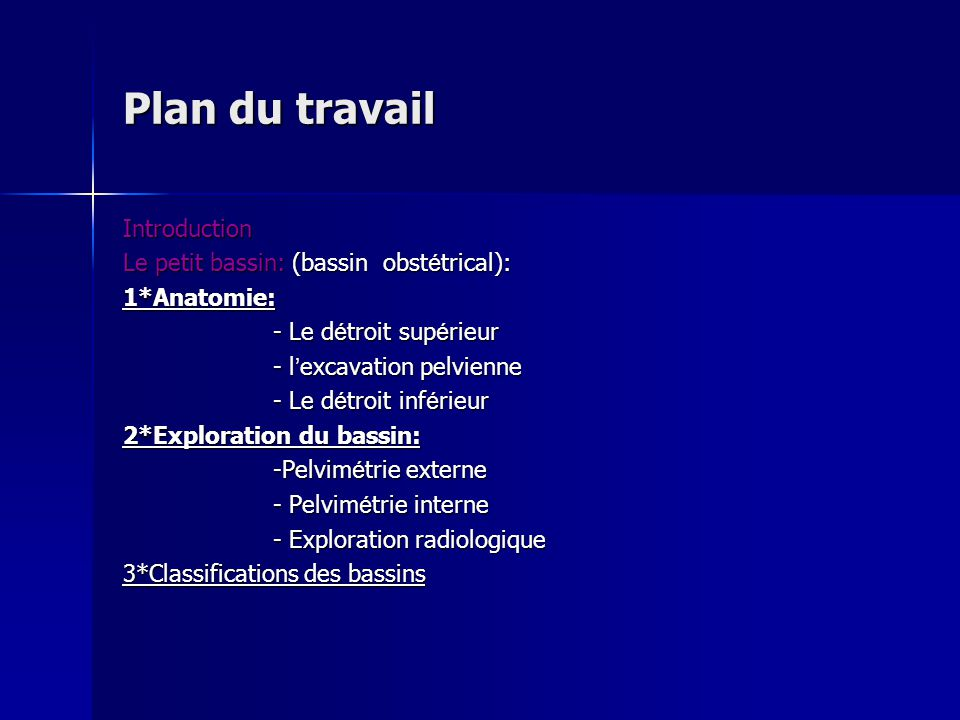 Plan du travail Introduction Le petit bassin: (bassin obstétrical):