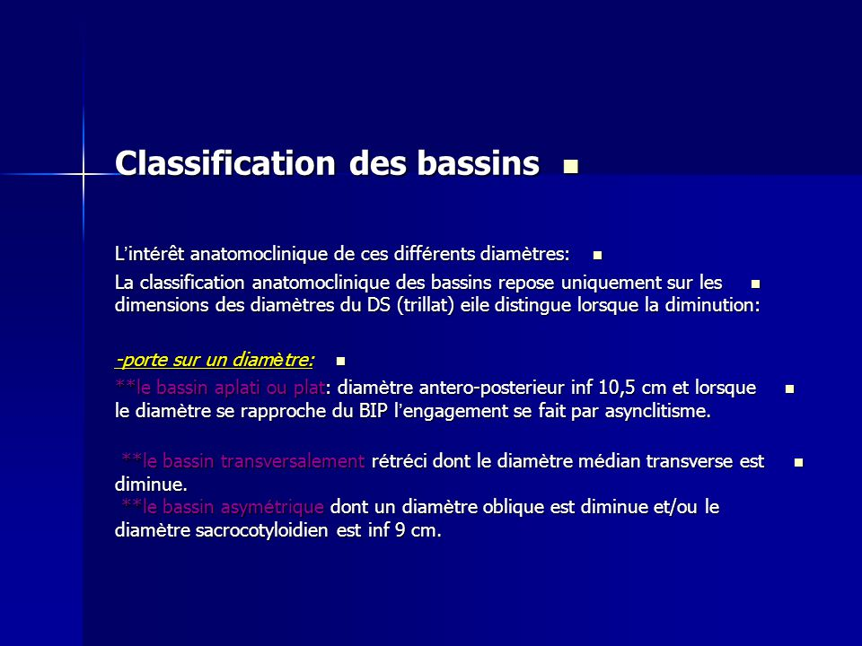 Classification des bassins