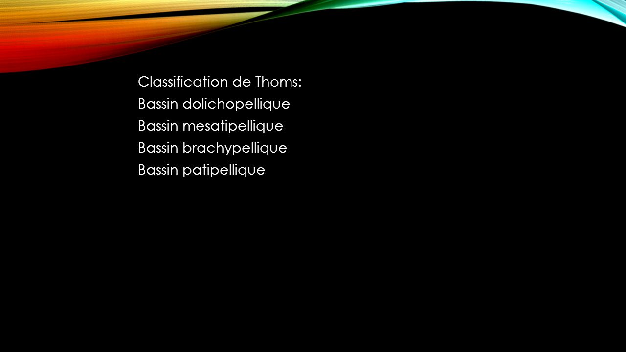 Classification de Thoms: Bassin dolichopellique Bassin mesatipellique Bassin brachypellique Bassin patipellique