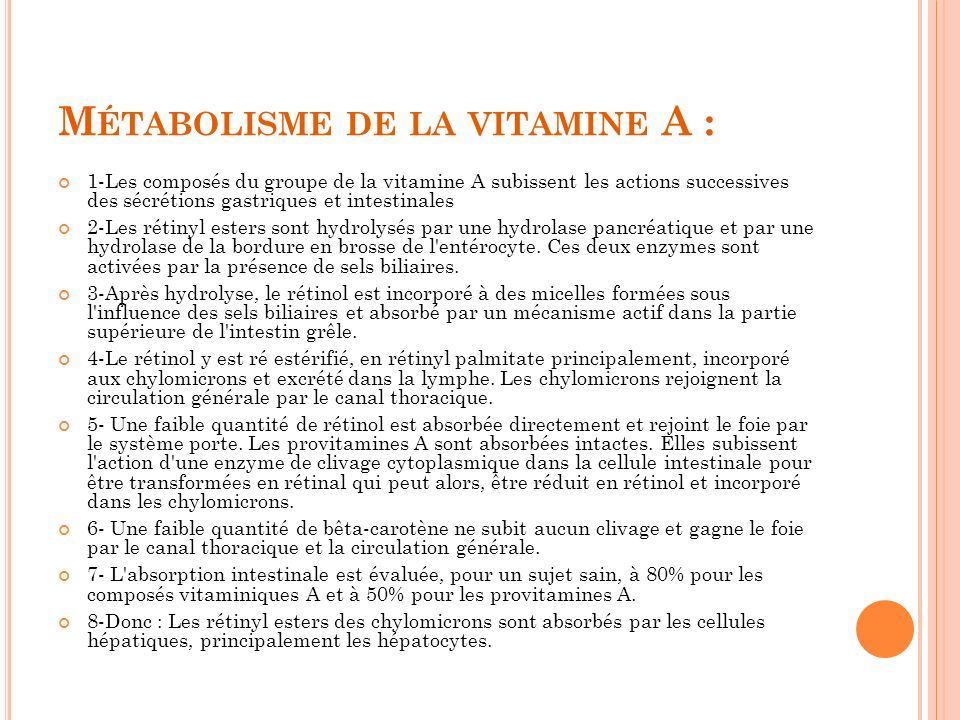 Métabolisme de la vitamine A :